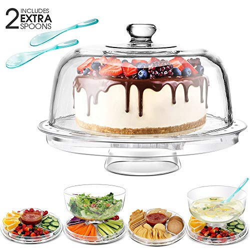 Cake Stand with 2PCS Spoons Multi-Purpose 6 in 1 Cake Plate with Dome 12.6'' Cake Serving Platter,Acrylic,Masthome