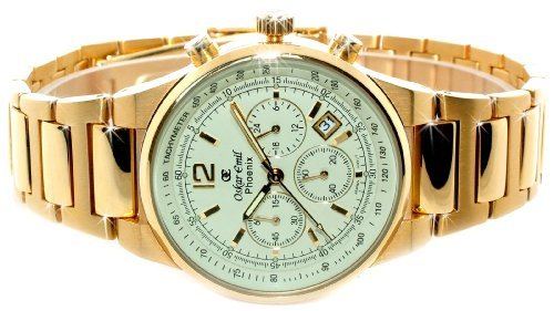 Oskar Emil Mens Phoenix 18ct Gold Plated Chronograph Watch with Cream Dial