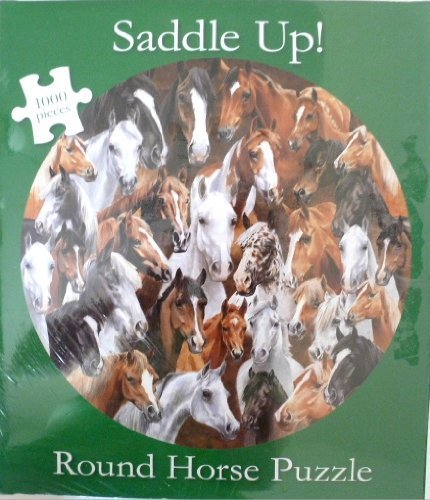 Saddle Up! Multi Horse 1000 Piece Round Jigsaw Puzzle. by Current