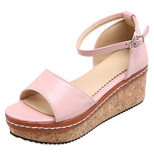 TAOFFEN Women Fashion Ankle Strap Sandals Heels Pink-2 zyXZaBX