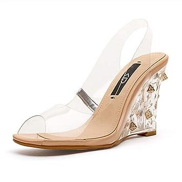 e42a77ed432 Sandalias para mujer Zapatos de Fiesta de graduación Tacones Altos para  Mujer Tacones Altos Transparentes Zapatos de Princesa de Cristal Tapicería  de Cuero