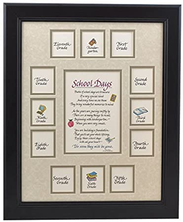 school picture frame 11x14 black frame taupe mat with apple verse school days