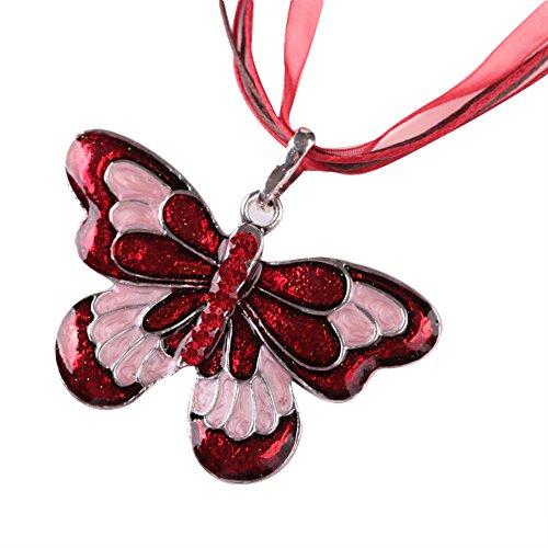 Yanvan Fashion Jewelry Accessories, Women Fashion Jewelry Enamel Butterfly Crystal Silver Pendant Necklace Chain