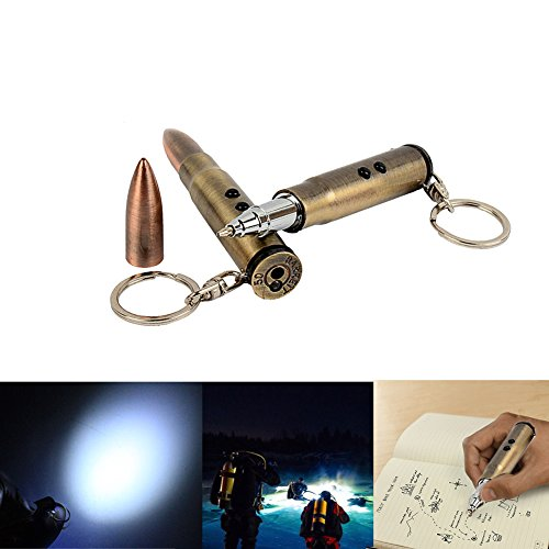 Shape Key Ring Light (ONcemoRE Outdoor Life-saving Bullet Shape Keychain Light Hammer Ballpoint Pen EDC)