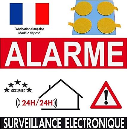 Panneau De Dissuasion Alarme Surveillance électronique 160x100mm Pastilles Double Face Offerte