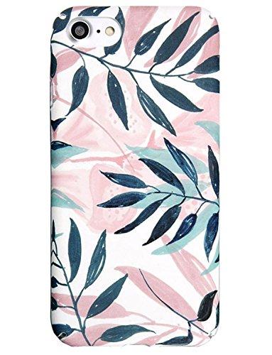 - J.west iPhone 8 Case, iPhone 7 Case, Pink Leaf Design Anti-Scratch &Fingerprint Slim Shock Proof Thin Non Slip Matte Back Hard Protective Cover Skin Case for Apple iPhone 7/iPhone 8 Palm