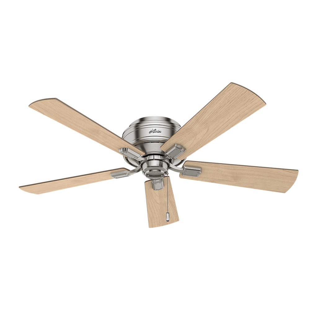 Hunter Indoor Low Profile Ceiling Fan, with pull chain control – Crestfield 52 inch, Brushed Nickel, 54209