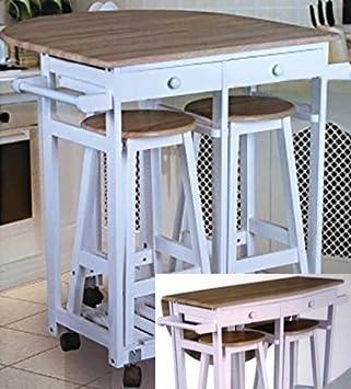 barra para cocina con enrollable mesa y taburetes
