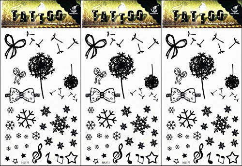 PP TATTOO 3 Sheets Snow Flower Bow Music Musical Notes Temporary Tattoo Body Art Sticker Fashionable Designs Fake Make up Body Art for Man Women]()