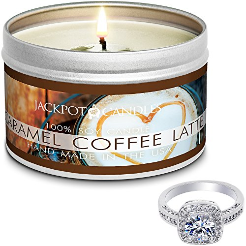 Jackpot Candles Surprise Size Ring Caramel Coffee Latte Jewelry Candle Travel Tin