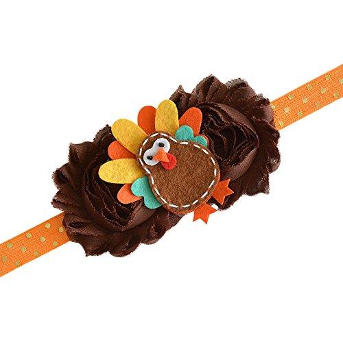 Thanksgiving Fall Turkey Pumpkin Owl Felt Brown Gold Headband Baby Girl Newborn Gift (Turkey Headband) -