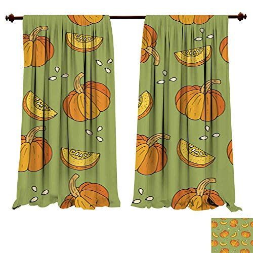 DragonBuildingMaterials Panels Sun Blocking Curtains WebSeamless Halloween Background with Pumpkins Window Treatments for -