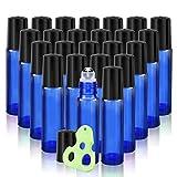 Olilia 10 ml Cobalt Blue Glass Roll on Bottles Metal Roller Balls, 24 Pack, Essential Oils Opener