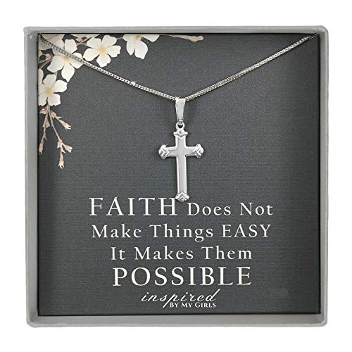 Sterling Silver Budded Cross Necklace Adjustable Franco Chain and Faith Keepsake Card Gift