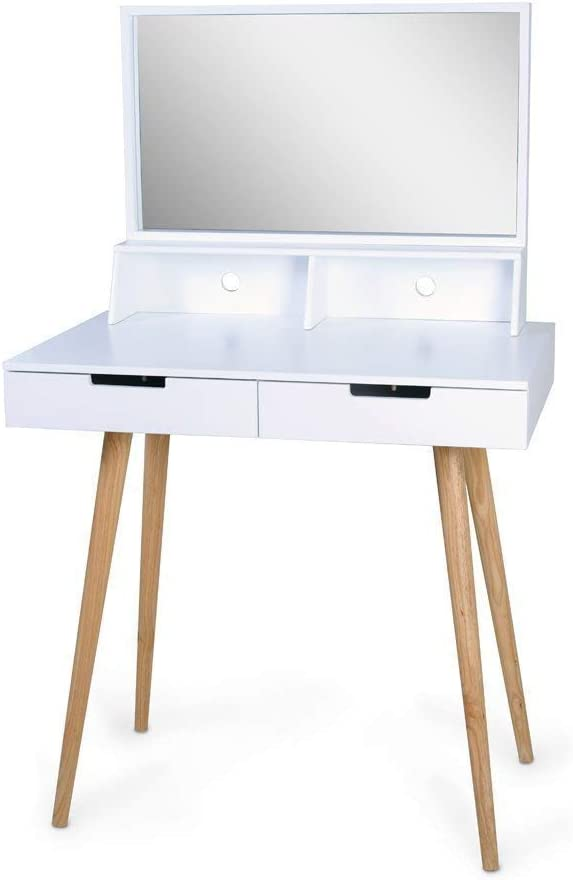 Organizedlife White Large Makeup Vanity Table Desk with Drawers and Mirror Jewelry Armoire