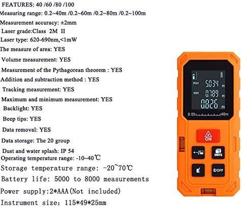 Hengbaixin Good quality 40//60//80//100m Telemeter Area Volume Digital Laser Distance Meter Range Finder