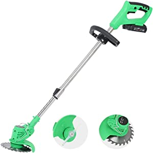 Cordless Electric Grass Trimmer Edger Lawn Mower Brush Pruning Cutter Kit Garden Tools with Replace Blade,Ideal for Trimming Weeds & Cutting Grass Lawn Edges - 21V