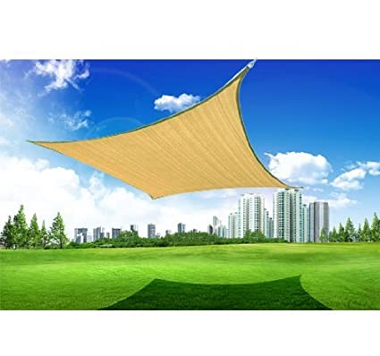 outsunny 24 square outdoor patio sun shade sail canopy sand - Patio Sun Shade