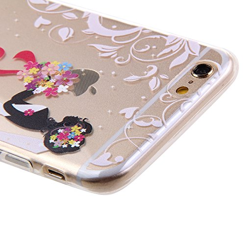 Ekakashop Apple iphone 6 plus/6s plus (5.5 Zoll) Weiche Silikon TPU Gel Hüllen, Neueste Bunte schöne Schutzhülle Schale Durchsichtig mit Rosa Blume Schmetterling Mädchen-Serie Muster Backcover Rücksei