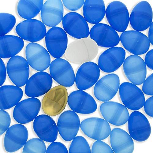 BestPysanky Set of 46 Blue Plastic Eggs + 1 White Egg + 1 Golden Easter Egg]()
