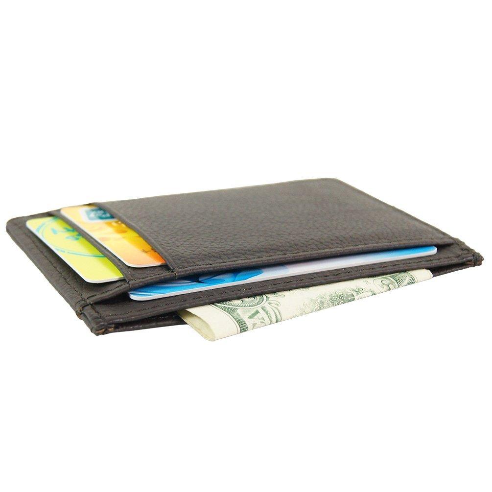 Genuine Leather Slim Front Pocket Card Case Credit Card Holder 7 Slots Wallet (Brown) Gubintu Co. Ltd