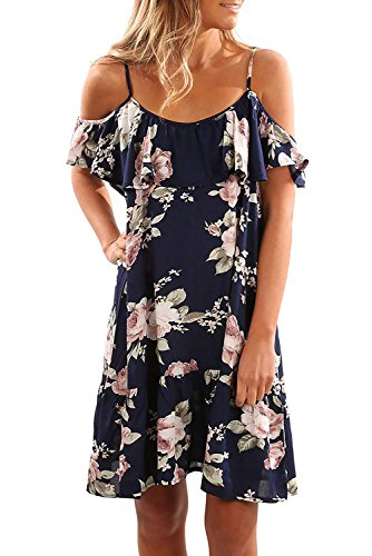 SUNNYME Women s Floral Straps Dresses Midi Off Shoulder A Line Dress Casual  Evening Party Dress b26341602