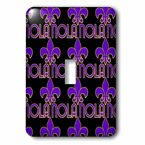 3dRose lsp_162781_1 New Orleans Nola and Fleur De Lis In Purple and Gold On A Black Background. Single Toggle - Orleans Outlet New