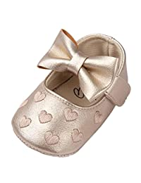 Celendi Baby Girl Bowknot Leater Shoes Sneaker Anti-slip Soft Sole Toddler Boots