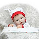 Soft Wear Cartoon Hat Baby Nurturing Dolls 43 Cm Realistic 17'' Reborn Baby Touch Real Soft Silicone Doll Kids Toy Birthday Xmas Gifts For Sale,Blue Eyes?17 Inches About 43Cm for Patients with Anxiety Disorder