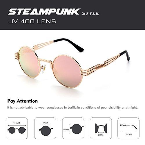 Or polarisées style pour de hommes rond métallique en cercle C inspirées Rose E72 CGID soleil Lunettes retro du Steampunk T4xng