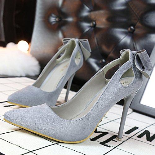 gray con Asakuchi señaló gamuza de hollow zapatos zapatos dulce alto tacón de Arco tacón alto fina R0axSnaZ