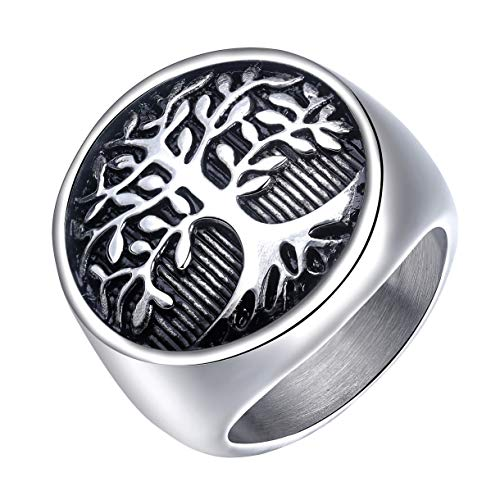 INRENG Men's Stainless Steel Tree of Life Ring Vintage Classic Round Signet Biker Band Christmas Wedding Rings Polished Silver Size 14