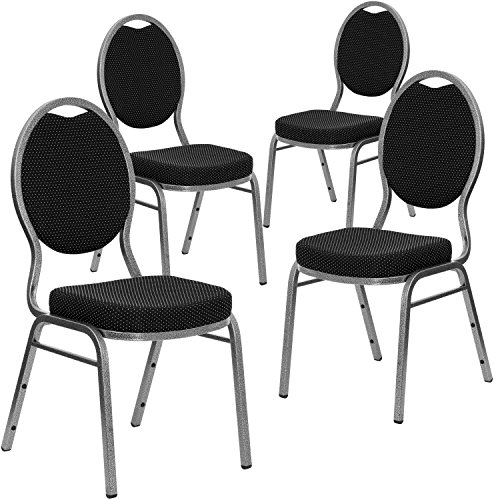 [4 Pk. HERCULES Series Teardrop Back Stacking Banquet Chair with Black Patterned Fabric and 2.5'' Thick Seat - Silver Vein Frame] (Silver Frame Black Fabric Seat)