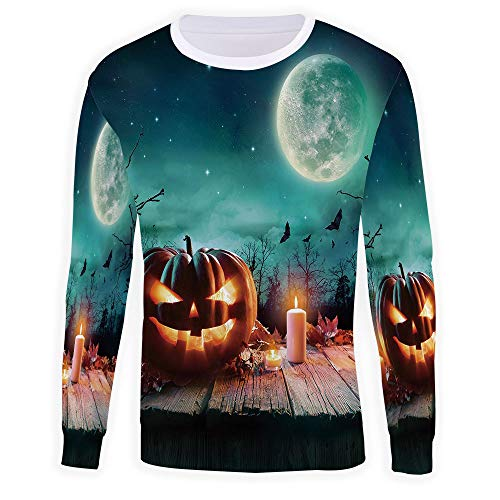 Mens,Halloween,Long Sleeve Hoodie T-Shirts Slim Hooded Pullover Tops -