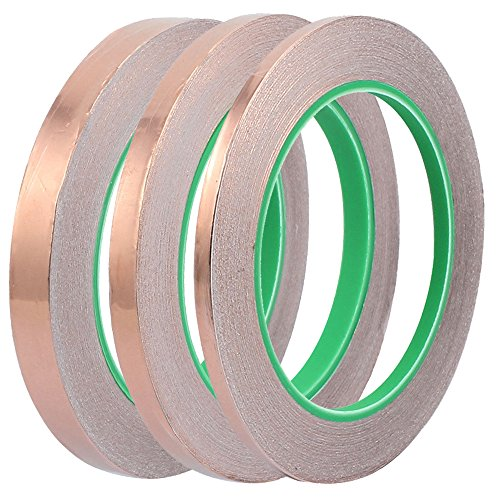 Bestgle 3Pcs Copper Foil Tape with Double-sided Conductive, 3 Sizes Conductive Adhesive Tapes for EMI Shielding,Stained Glass,Soldering,Electrical Repairs,Paper Circuit,Grounding (6/8/10mm X 27 yard)