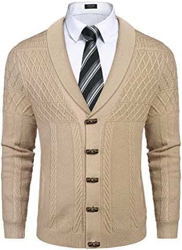 COOFANDY Men`s Shawl Collar Cardigan Sweater Casual Slim fit Stylish Button Cotton Knitted SweaterPockets Khaki / COOFANDY Men`s Shawl Collar Cardigan Sweater Casual Slim fit Stylish Button Cotton Knitted SweaterPockets Khaki