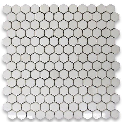 Thassos White Greek Marble Hexagon Mosaic Tile 1 inch Polished -