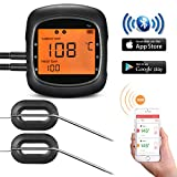 Smart Wireless BBQ Thermometer,TOPELEK Bluetooth Food Meat Thermometer With Large Backlit Display,Magnetic Mounting Design,2 Probes,Alarm Monitor for Kitchen,Turkey for IOS & Android (Dual Probes)