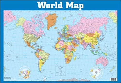World Map Wall Chart Wall Charts Amazoncouk Books - Warld map