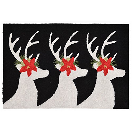 (Liora Manne Whimsy Holiday Bucks Rug, Black, Indoor/Outdoor, 30