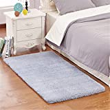 "Mynse 23.6""x47.2"" Modern Simplicity Super Soft Plush Area Rugs for Bedroom Living Room Bedside Hotel Mat (Blue with Grey)"
