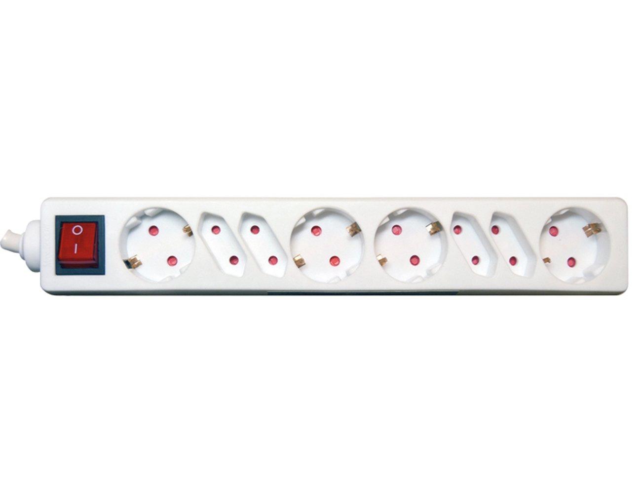 TS-electronic 48 38151 4 barre multiprise avec interrupteur blanc
