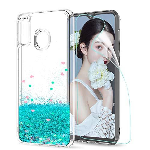 LeYi Funda Samsung Galaxy A20e Silicona Purpurina Carcasa con HD Protectores de Pantalla Transparente Cristal Bumper Telefono Gel TPU Fundas Case ...