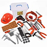 Toy Kids Tool Set with Electronic Cordless Drill, Safety Helmet, and 48 Pieces Pretend Construction Toys with Bonus Storage Box