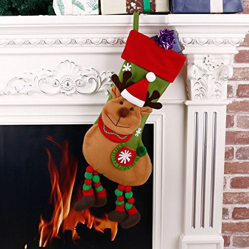 Reindeer Stocking (Lovely Christmas Stockings Gift Candy Bag Cartoon Reindeer Xmas Stockings Holiday Decor (18
