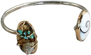 product image for Melissa Joy Manning Ribbon Turquoise and Shiva Shell Cuff Bracelet