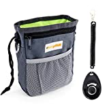 Dog Treat Pouch with Waste Bags Dispenser, FurryFido Dog Training Pouch with Extra Long Waist Belt and Over Shoulder Strap, Carries Treats, Toys, Keys etc. (Grey)