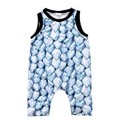 Toddler Infant Baby Boy Dinosaur Sleeveless Romper Jumpsuit Animal Outfit Summer Clothes (Blue, 6-12 Months)