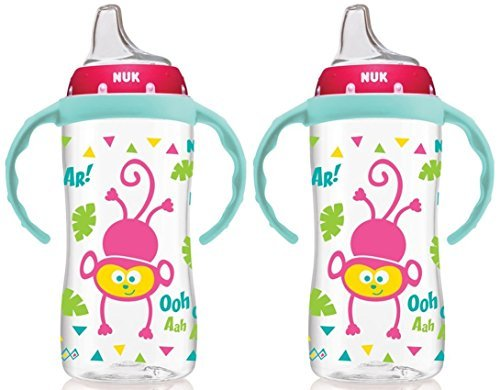 NUK Ounce Jungle Large Cup Handles, Girl