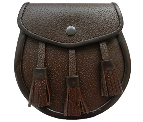UT Kilts Scottish Kilt Brown Leather Sporran (Brown)]()